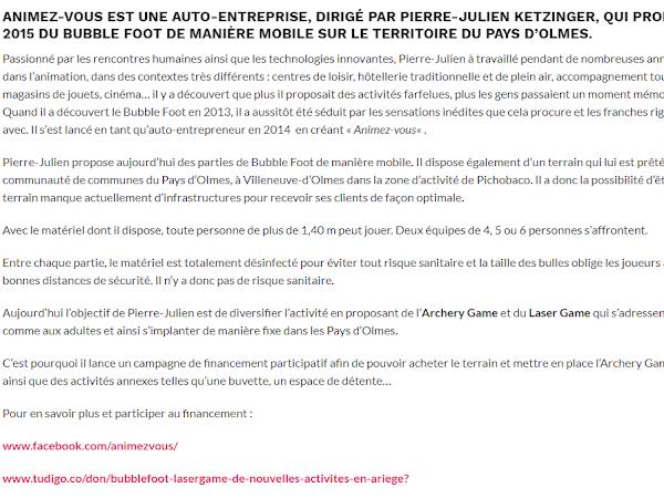 AZINAT.com & Animez-vous – Bubble Foot/Archery Game – Loisirs Ariège